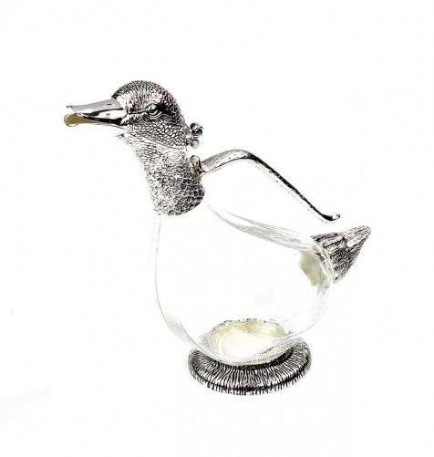 Silver Plate DUCK Wine Decanter