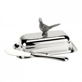 Silver Plate PHEASANT Butter Dish