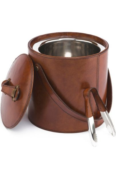 The Burton Leather ICE BUCKET with Tongs