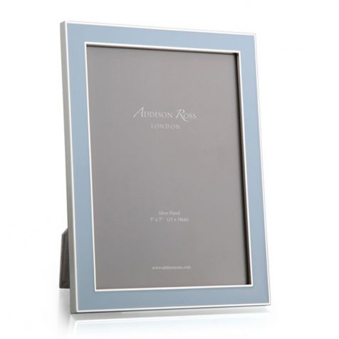 POWDER BLUE Enamel & Silver Plate Photograph Frame by Addison Ross
