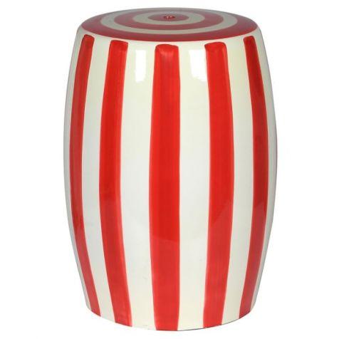 The Blake Red & White Striped CERAMIC STOOL