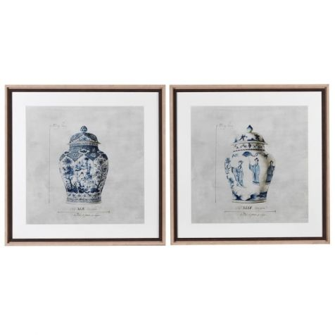 CHINOISERIE Blue & White Urn Framed Prints - set of 2