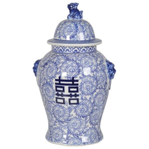 The Chinese Blue & White TEMPLE JAR