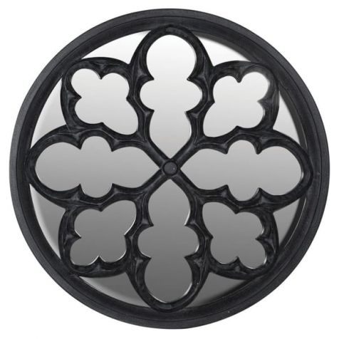 The Charcoal Gothic Round Mirror