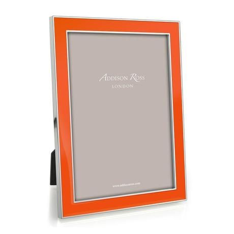 The Hermes Orange 5x7 Enamel & Silverplate PHOTOGRAPH FRAME