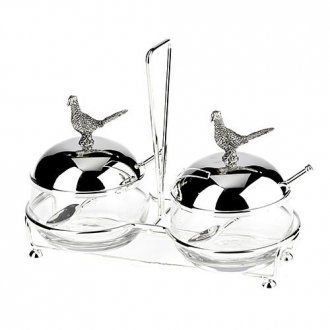 Silver Plate Double PHEASANT Jam Dishes