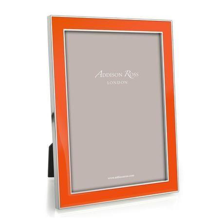 The Hermes Orange 4x6 Enamel & Silverplate PHOTOGRAPH FRAME