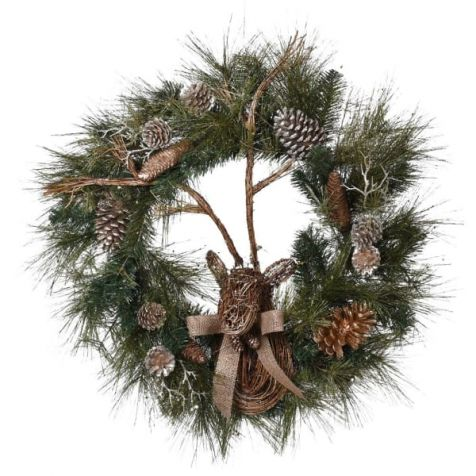 The Gold Reindeer Pine Cone WREATH