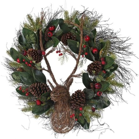 The LUXURY Berry, Magnolia Leaf, Pine Cone & Reindeer WREATH