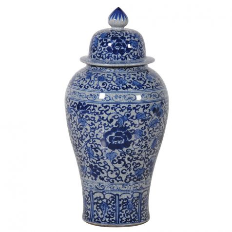 The Mandarin Medium Blue & White TEMPLE JAR