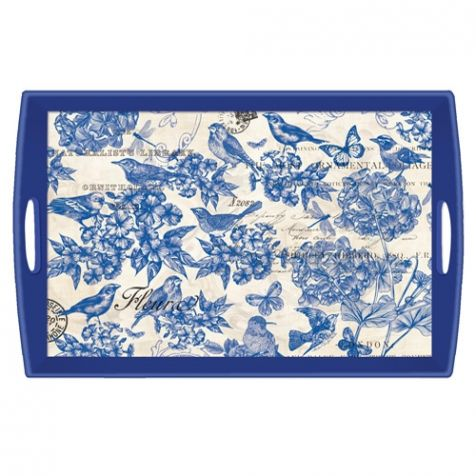 The  Indigo Cotton Large Decoupage WOODEN TRAY